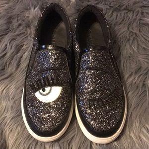 Winking Eye Glitter Sneakers